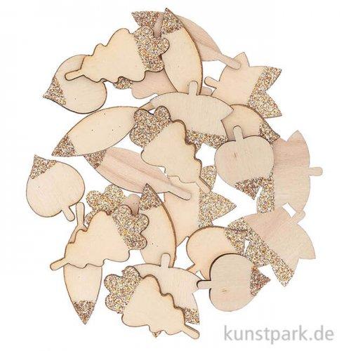 Streudeko Blätter - Naturholz mit Rosegold-Glitter, 48 Stück