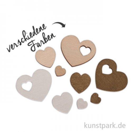 Holz-Streuteile Herzen, 1 - 3,5 cm, 33 Stück sortiert