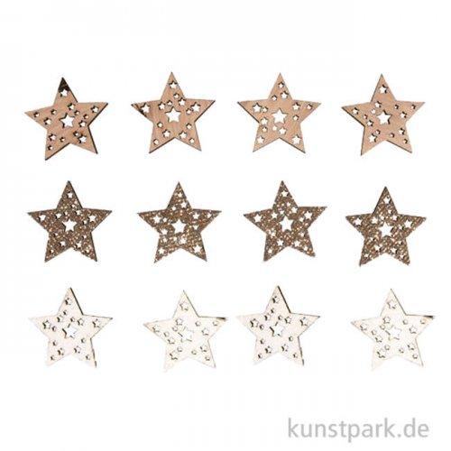 Holz-Streuteile Sterne mit Glitzer und Klebepunkt, 3,5cm, 12 Stück