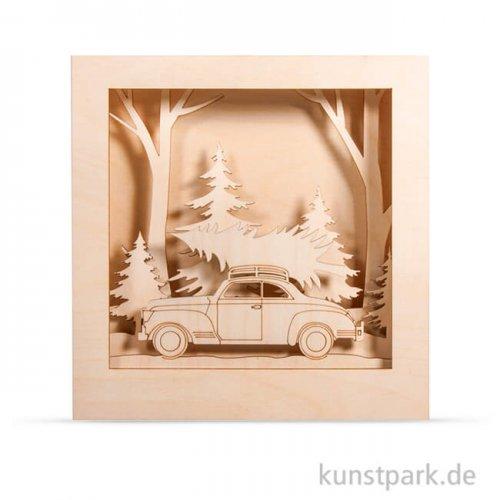 Holzbausatz 3D-Motivrahmen - Auto, 30x30x6,6 cm, 14-teilig
