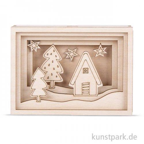 Holzbausatz 3D-Motivrahmen - Mini, 11,5x8,5x3,2 cm, 11-teilig