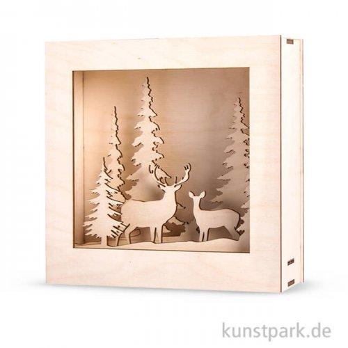 Holzbausatz 3D-Motivrahmen - Winterland, 20x20x6,6 cm, 14-teilig