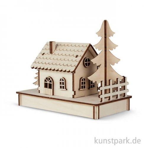 Holzbausatz für 1 Häuschen, 17,5x9,4x14 cm, 30-teilig