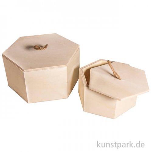 Holzboxen-Set 6-Eck, 2 Stück sortiert