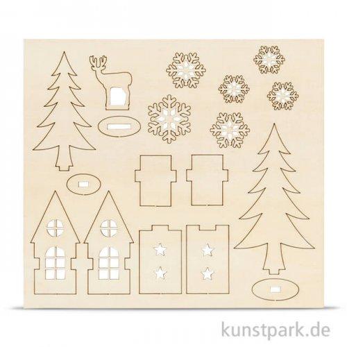 Holzfiguren zum Aufstellen - Haus und Baum, 15,5x17,5 cm