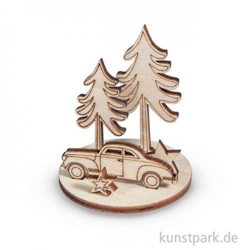 Holzfiguren zum Aufstellen - Wintercar, 5 cm, 2 Sets