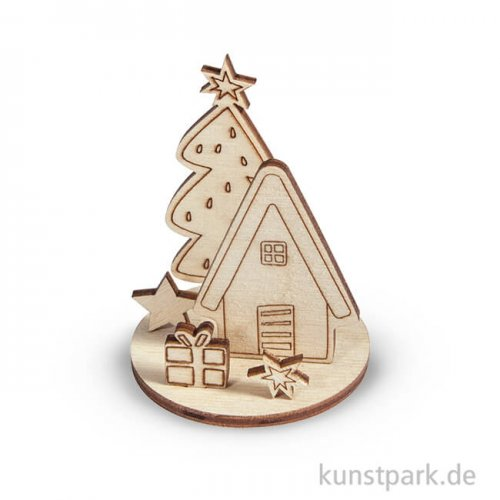 Holzfiguren zum Aufstellen - Winterhome, 5 cm, 2 Sets