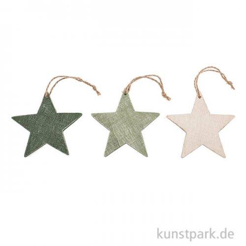 Holzhänger Stern, Grün und Weiss, 8x7,5cm, 3 Stück sortiert