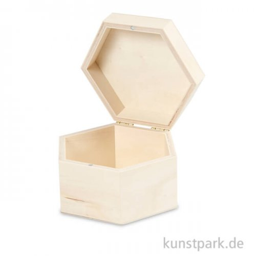 Holzkiste sechseckig, 10,5x6,6 cm