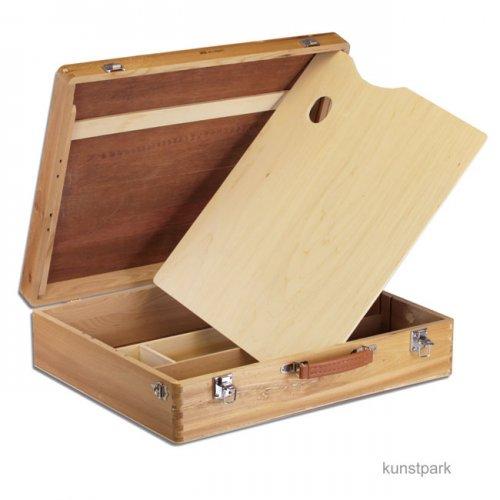 Holzmalkoffer mit Metallschließen, groß