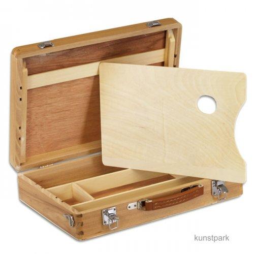 Holzmalkoffer mit Metallschließen, klein