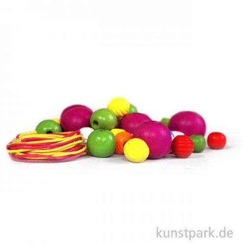 Holzperlen rund, 84 Stück - farbig sortiert