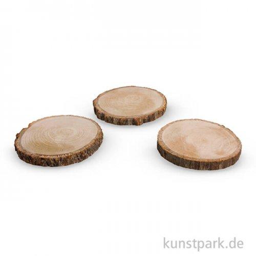 Holzscheibe rund natur, 10 - 12 cm, 3 Stück sortiert