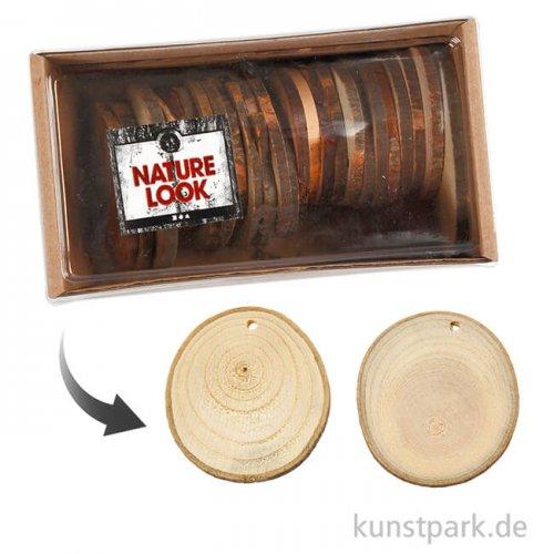 Holzscheiben mit Loch, 5-7 cm, 25 Stück sortiert