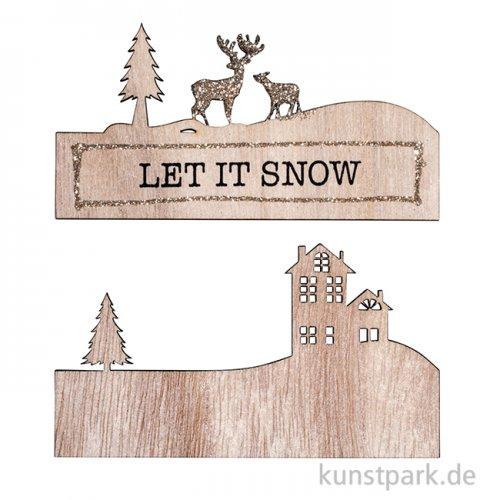Holzschild mit Schrift - Let it Snow, zweiteilig für 3D-Effekt