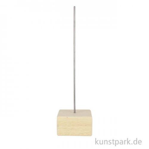 Holzsockel Größe 7 x 7 cm mit Metallstab Höhe 30 cm