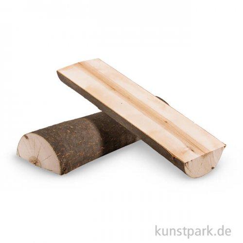 Holzstamm natur halbiert, 23x7x4 cm, 2 Stück