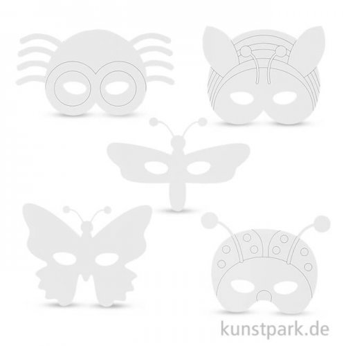 Insekten-Masken aus kräftigem Karton, 14-17 cm, 16 Stück sortiert