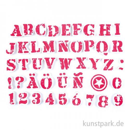 IZINK Pigment Textil Stempel & Farbe, 45+1 Set - Alphabet 1