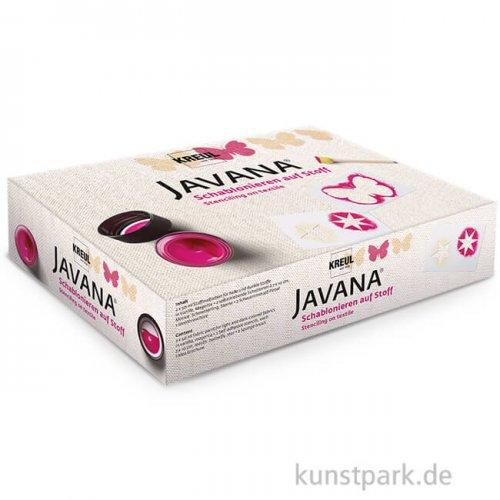 KREUL Javana Schablonieren auf Stoff - Set mit 3 x 50 ml und Zubehör