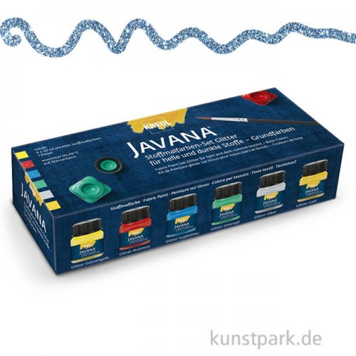 KREUL Javana Stoffmalfarben Glitter Grundfarben-Set, 6 x 20 ml