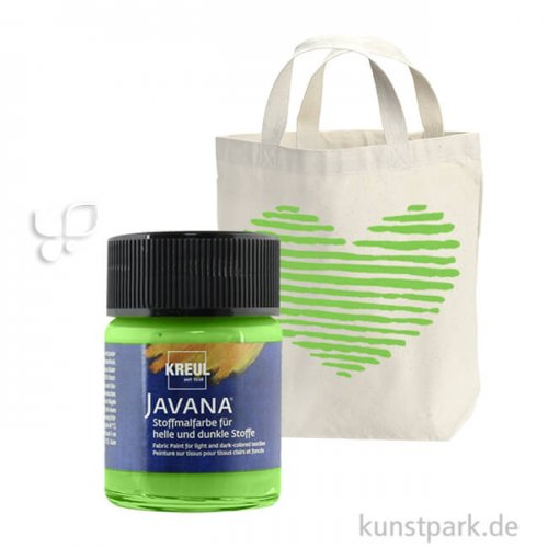 KREUL Javana Stoffmalfarbe für helle und dunkle Stoffe 50 ml | Blattgrün