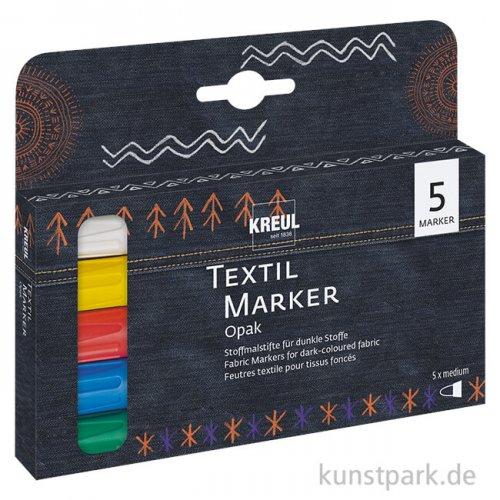 JAVANA Textil Texi Mäx Opak-Set - 5 Stoffmalstifte für dunkel Stoffe