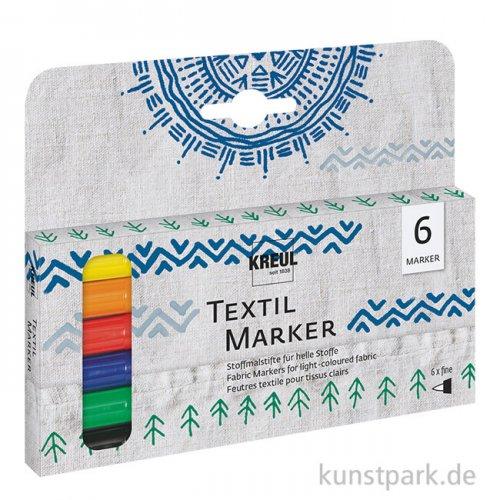 JAVANA Textil Texi Mäx Sunny-Set - 6 Stoffmalstifte, fein