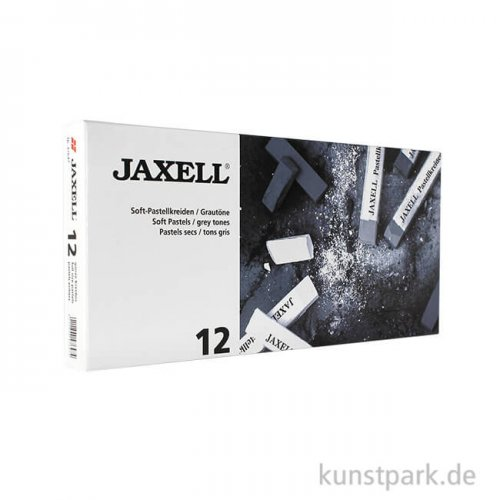JAXELL Pastellkreide, 12 Grautöne im Kartonetui