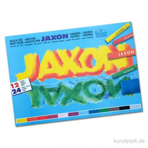 JAXON Tonpapierblock mit 12 Farben DIN A3, 24 Blatt, 120g