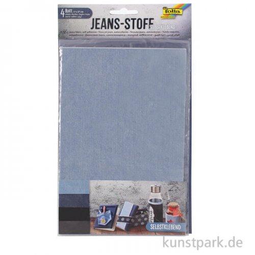 Jeansstoff selbstklebend, 17x27 cm, 4 Blatt sortiert