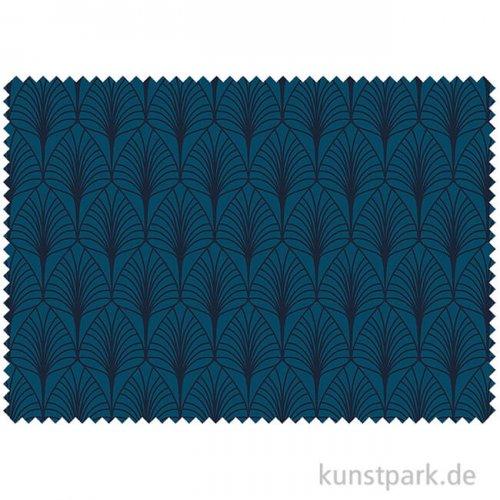 Jersey - Blätter Türkisblau - 1 m x 1,6 m