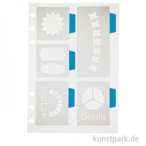 Journal & Planer Schablone - Große Symbole, Größe 12,5 x 17,5 cm