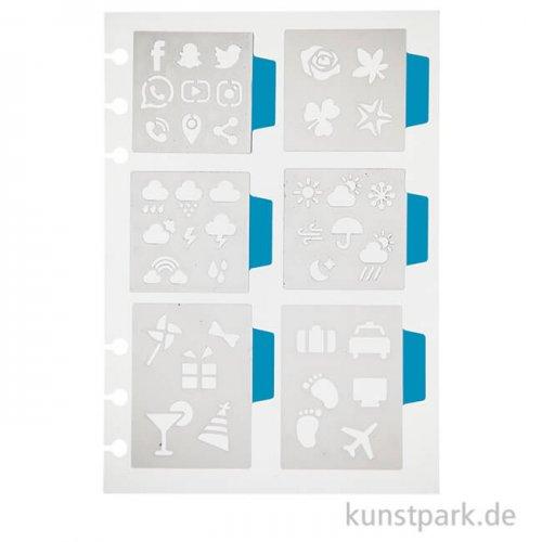 Journal & Planer Schablone - Kleine Symbole, Größe 12,5 x 17,5 cm