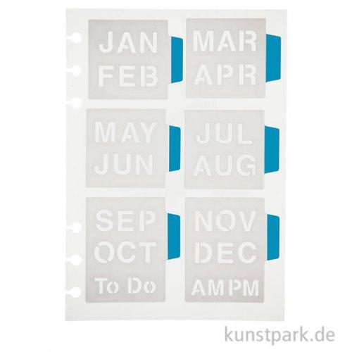Journal & Planer Schablone - Monate, Größe 12,5 x 17,5 cm