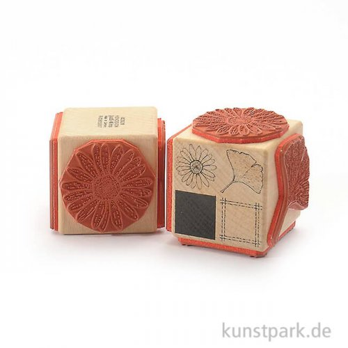 Judi-Kins Stamps - 4 Blüte und Gingko - Würfel