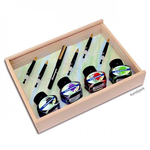 Kalligrafie Art Set in attraktiver Holzbox mit viel Zubehör