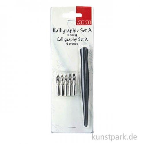 Kalligraphie Set 6-teilig - Holzfederhalter mit 5 Schreibfedern