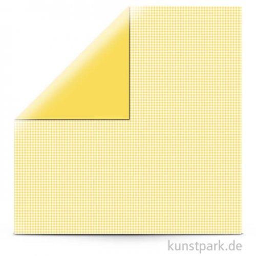 Kariert - Scrapbookingpapier, 190 g 30,5 x 30,5 cm   Sonnengelb