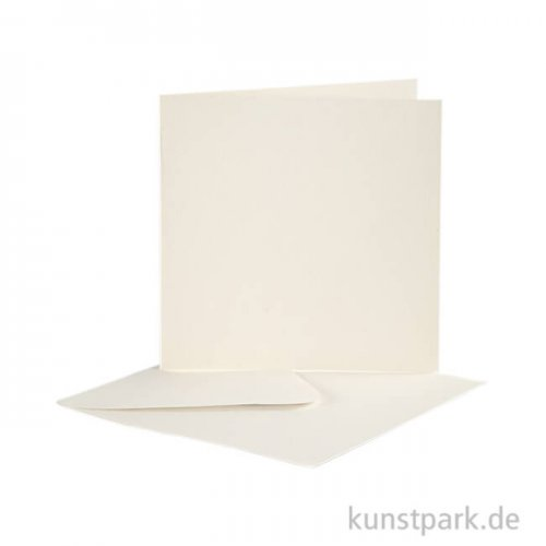 Karte mit Umschlag - Altweiß, 10 Stück 12,5 x 12,5 cm