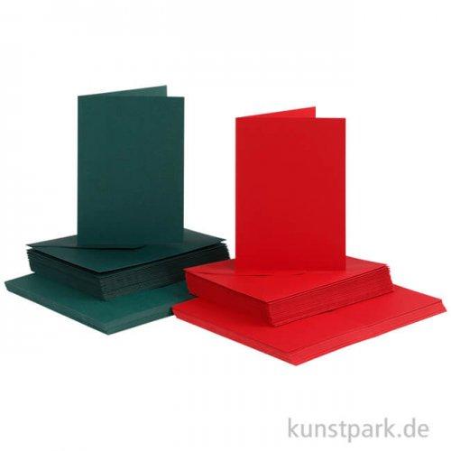 Karten und Kuverts - Grün-Rot, 10,5x15 cm, 50 Sets sortiert