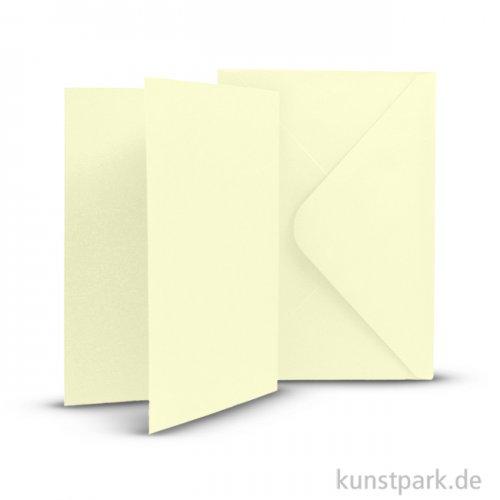 Karten und Kuverts, 6 Sets 15 x 10.5 cm   Creme
