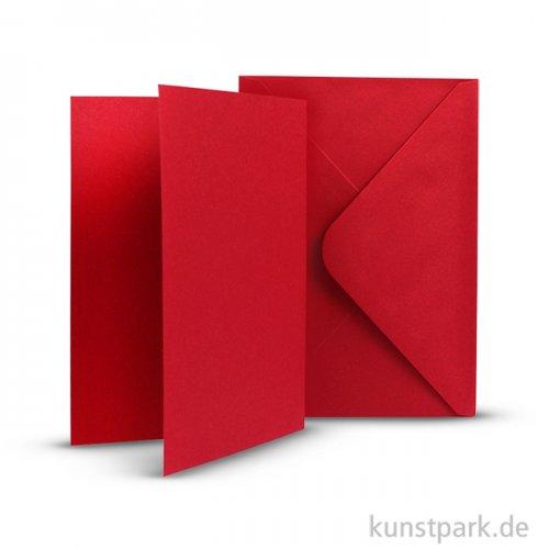 Karten und Kuverts, 6 Sets 15 x 10.5 cm   Rot