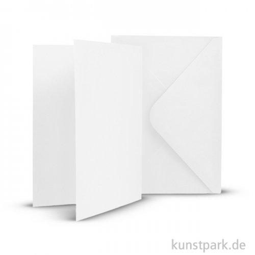Karten und Kuverts, 6 Sets 15 x 10.5 cm | Weiß