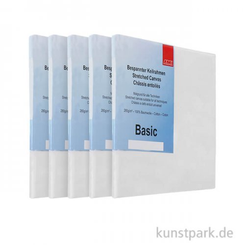Keilrahmen-Set BASIC, 5 Stück - 30 x 40 cm