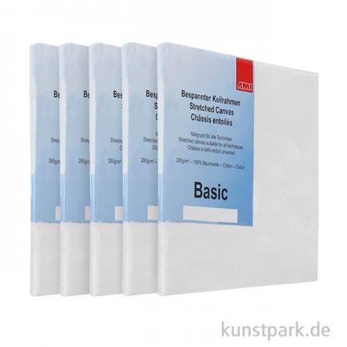 Keilrahmen-Set BASIC, 5 Stück - 40 x 50 cm