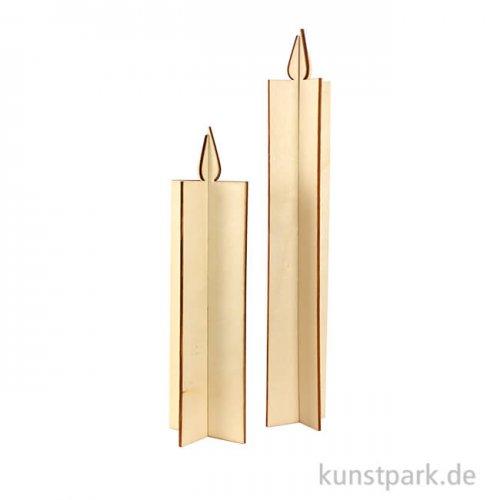 Kerze aus Holz - 2 Stück sortiert