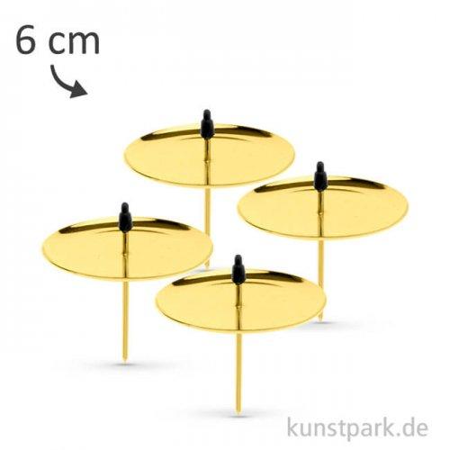 Kerzenhalter aus Metall - Goldfarben, 4 Stück 6 cm