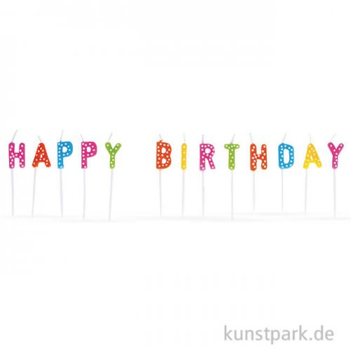 Kerzensticks HAPPY BIRTHDAY, 1,5x7,7 cm, 13 Stück sortiert