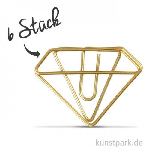 Klammern aus Goldmetall - Diamant, 25x35 mm, 6 Stück